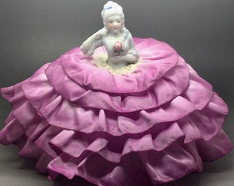 Porcelain Half Doll Pin Cushion With Pink Skirt