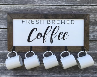 Framed Farmhouse Sign with Hooks: Fresh Brewed Coffee