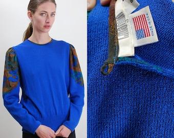 Vintage Sweater / 80s I. Magnin / I. Magnin Sweater / I. Magnin / Vintage 80s / Blue Sweater / Crop Sweater / Modern Sweater / Small Medium