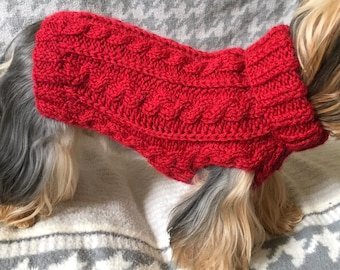 Cabled Dog Sweater Knitting Pattern