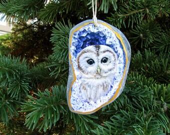 Owl Geode Ornament