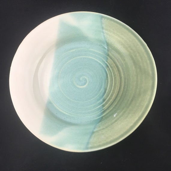 Small Green and White Plate