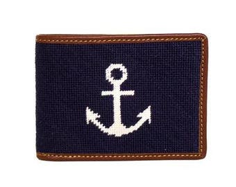 Anchor on Navy Bi-fold Needlepoint Wallet