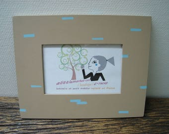 beige with blue dotted picture frame