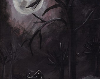 "Midnight Landscape -- Original painting, acrylic on canvas board, 9""x 12"""