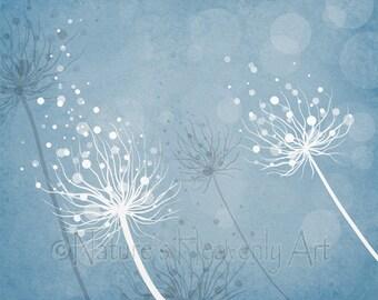 Dandelion Art Print, Nature Home Decor, 8 x 10 Living Room Wall Art, Blue Wall Decor (245)