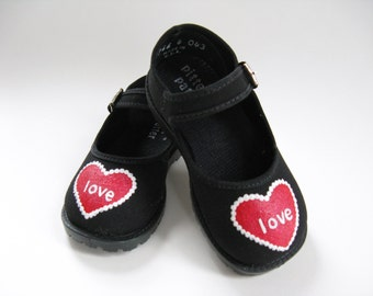 Valentine Shoes, Hand Painted Red Hearts on Black Mary Janes for Babies and Toddlers