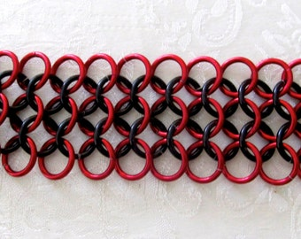 Red and Black chainmail cuff bracelet
