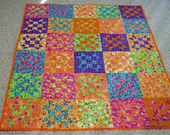 Bright and Beautiful Lap Quilt - 9 Patch stars in Purple, Lime, Yellow, Turquoise and Orange