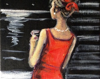 Woman in Red Dress painting original art 7 x 5""