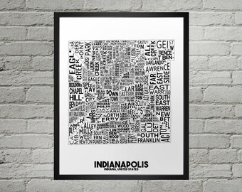 Indianapolis Indiana Neighborhood Typography City Map Print