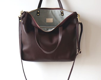 Leather Day Bag Purple Plum Crossbody Bag Shoulder Bag Casual Everyday Tote
