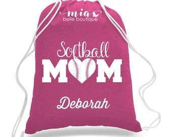 Personalized Softball Mom drawstring bag, Custom softball mom bag, softball mom gift, personalized softball mom, softball team mom gift