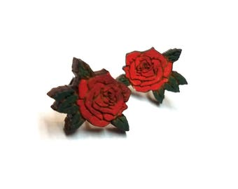 Red Roses Painted Wood Earrings | Laser Cut Jewelry | Hypoallergenic Studs | Wood Earrings