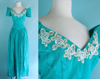 1980s does 1940s Turquoise Green Formal Evening Dress // 80s does 40s Style Party Dress