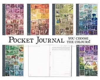 Postage Stamp Journal, Pocket Travel Notebook, Undated Diary | Custom Color Stamp Art, Eco Friendly Collage | Dot grid notes & free journal