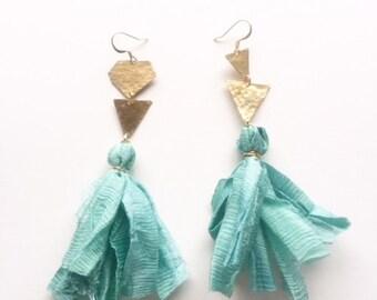 Turquoise Silk Earrings