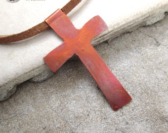 Copper Cross Pendant Leather Necklace, Christian Jewelry, Rustic Old Rugged Cross, Inspirational Gift, Religious Statement Unisex Cross N144