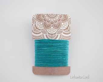 Turquoise, Linhasita Polyester Waxed Cord, 1mm Macramé Cord, 6.5 meters
