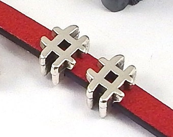 10 silver plated sharp hastag leather for leather flat 5mm past
