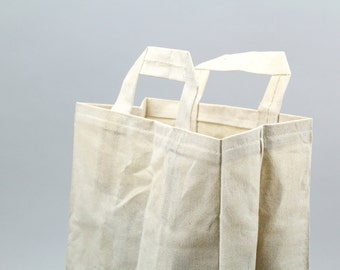 The Market Bag // Natural WAXED Canvas Reusable Shopping Bag with handles, eco-friendly and stylish