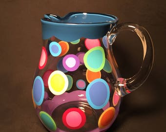 Kool Aid Pitcher! in dark blue & lavendar edges with polka dots by detroit glass company