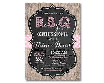 BBQ Baby Shower Invitation. Baby Q Baby Shower Invitation. Barbecue. Rustic Wood. Chalkboard. Pink,  Blue or Red. Printable Digital.