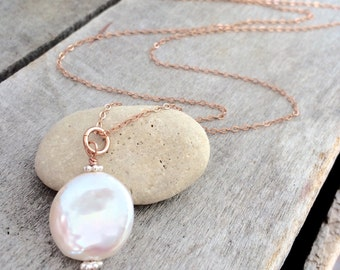 Rose Gold Filled Freshwater Coin Pearl Necklace, Rose Gold Pearl Necklace;  FREE SHIPPING!