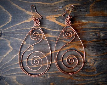 Tear Drop Hammered Copper Earrings for Gauged Ears // Wire Wrapped // Copper Jewelry // Handmade // Wild Moon Child Designs //
