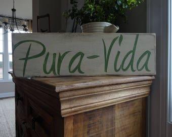 Pura Vida hand painted wood sign/ Beach decor/ Costa Rica/ Pure life sign/ Costa Rica sign