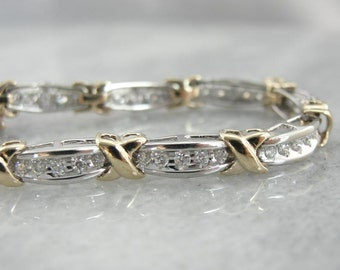 Bright Diamond Bracelet In Mixed Yellow And White Gold 7XC89K-N