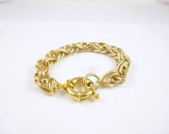 Chunky Gold Bracelet, Large Link Bracelet, Gold Plated Bracelet, Large Clasp, Vintage