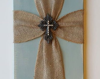 Rustic Burlap Cross Wall Decor, Chalk Painted Duck Egg Blue