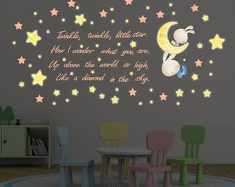 Lullaby Bunnies Wall Art Sticker/ Home Decor for Newborns and children/ Lullaby Nursery Rhyme Wall Decal/ Twinkle Twinkle Little Star Art