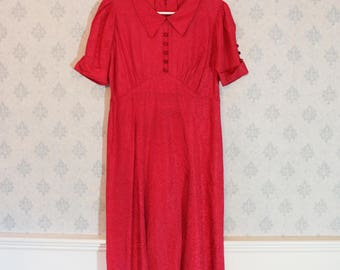 Vintage 1930s to 1940s Bright Pink Short Sleeve Collared Dress