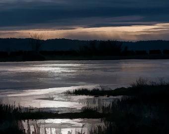 Winter freeze Stiliguamish River Pond, Frozen Sunrise, Fine Art Sunrise,