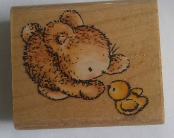 Bunny Talk by Penny Black Easter Spring Bunny Rabbit and Baby Chick 613D wood mounted rubber stamp