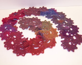 Lace Queen Anne scarf in a rainbow of watercolors