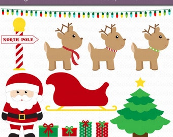 Santa and His Reindeer Digital Art Set Clipart Commercial Use Clip Art INSTANT Download Santa Clipart Christmas Clipart