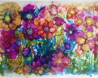 ON SALE! Blooming - an Original Alcohol Ink Painting of an Abstract Flower Garden on Vellum Paper