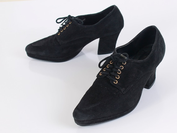 Up Vintage 1990's US UK Pointed Size Wild Pair 7 5 5 5 Toe Heeled Platform 90s Boots 38 Lace Women's Ankle Booties Black Suede T4xYqXvp