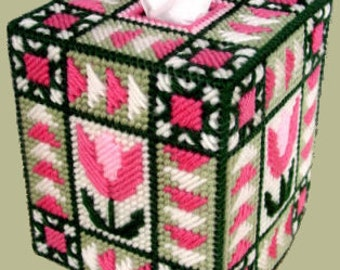 QUILTED TULIP - Boutique Size Tissue Box Cover - Tissue Topper - Needlepoint on Plastic Canvas