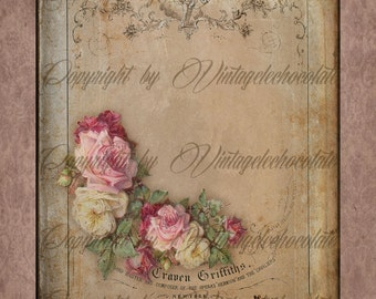 Floral Rose Digital Paper, Digital Paper Shabby Chic Rose Paper, Vintage Rose Digital Paper, Vintage Scrapbook Supplies.  No. 647