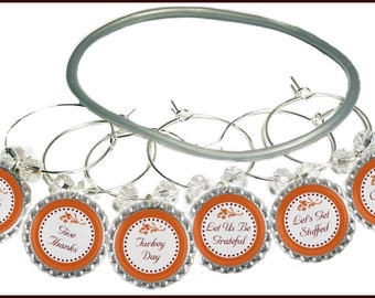 Thanksgiving Bottle Cap Wine Charms - 8 charms/set