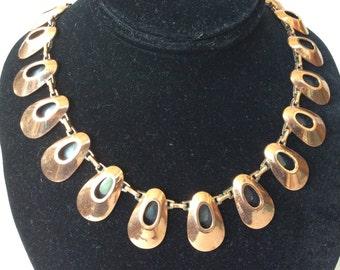 Renoir Copper Black Enamel Link Collar and Chain Necklace
