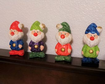 Set of 4 Santa Christmas Dwarves C-2291 paper mache Made in Japan