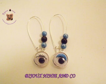 Handcrafted silver removable blue eye earrings