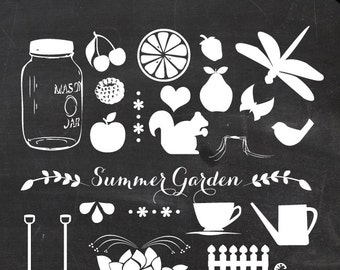 80% OFF SALE Vector Clip Art 21 Piece - Summer Garden clipart EPS - Digital Scrapbook Mason Jar Elements - Mason jar clipart teacup clip art