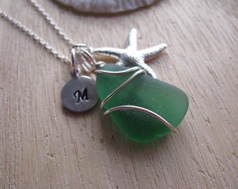Sea Glass Jewelry Bright Green Beach Glass Necklace Personalized Hand Stamped Recycled Jewelry Sea Glass Necklace Beach Jewelry