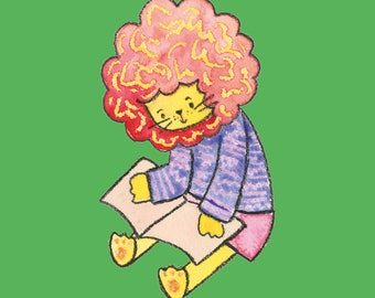 Adorable Lion Reading Greetings Card